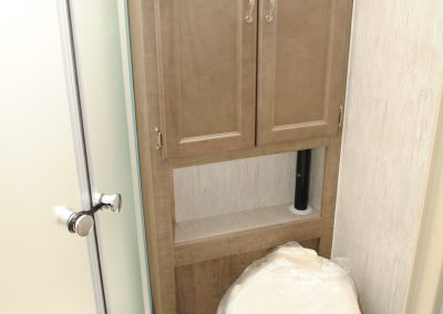 Toilet and storage cabinet. Partial view of shower door.