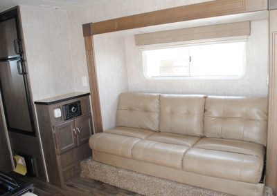 Sofa with window. Side storage cabinet.