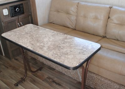 Sofa with table.