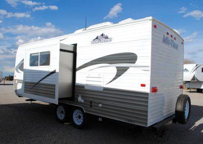 Exterior left side of trailer, with side slide extended.