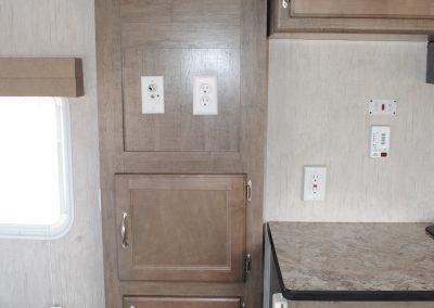 Counter top, storage cabinet. Storage drawers.