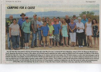 """Article from The Independent Newspaper """"Camping for a Cause"""""""