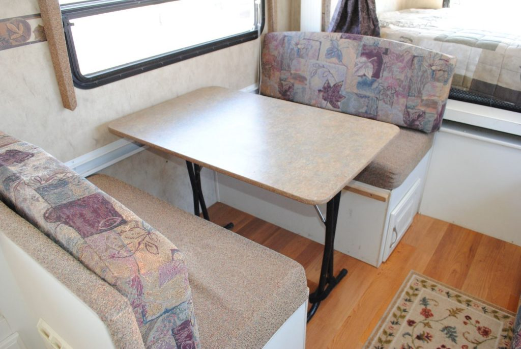 Close up view of table and bench seats.