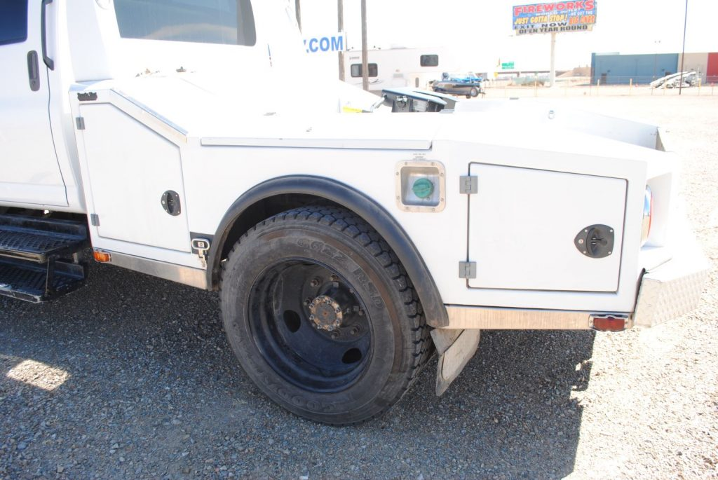 External view of the side of the truck with the gas cap
