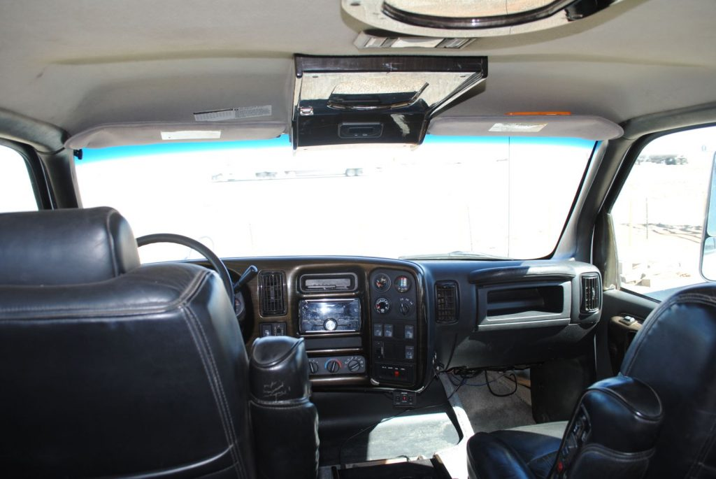 Internal view of the front of the cab from the backseat